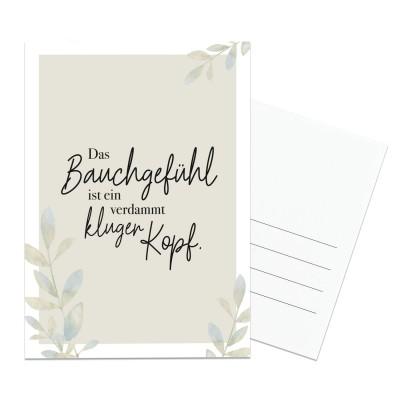 Postkarte Lieblingsmensch - Das Bauchgefühl ist ein verdammt kluger Kopf.