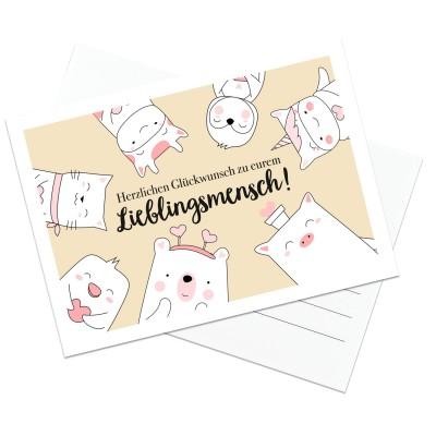 Lieblingsmensch Postkarte - Herzlichen Glückwunsch zu eurem Lieblingsmensch