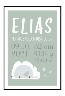 personalisiertes Poster zur Geburt - Motiv Elefant