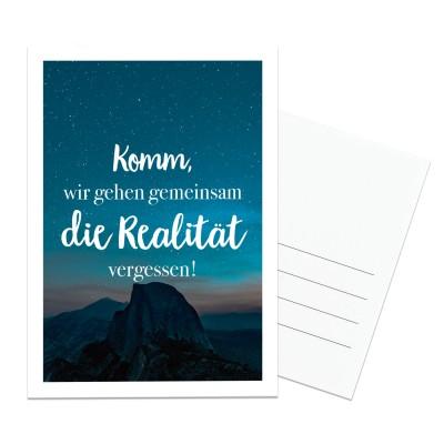 Postkarte Lieblingsmensch - Komm, wir gehen gemeinsam die Realität vergessen