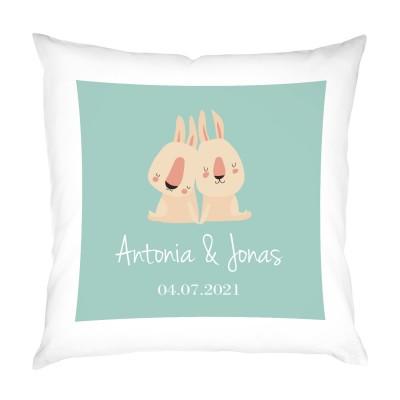 personalisiertes Kissen zur Geburt - Geschenk Geburt Zwillinge