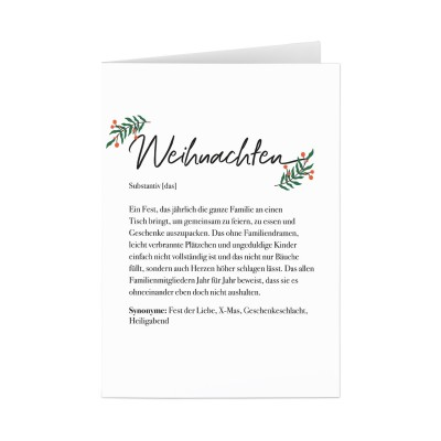 Weihnachten Dudeneintrag - Grußkarte Lieblingsmensch