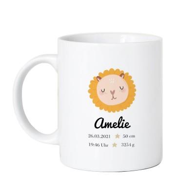 personalisierte Tasse zur Geburt - Tasse Löwe