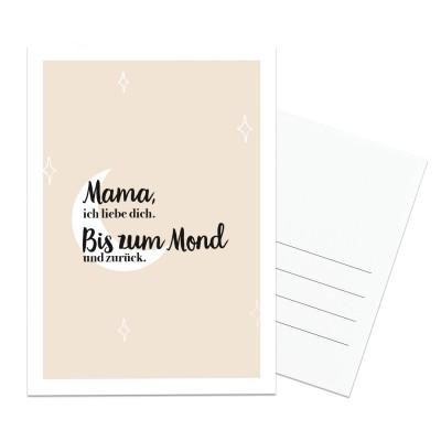Mama ich liebe dich bis zum Mond und zurück - Postkarte Lieblingsmensch