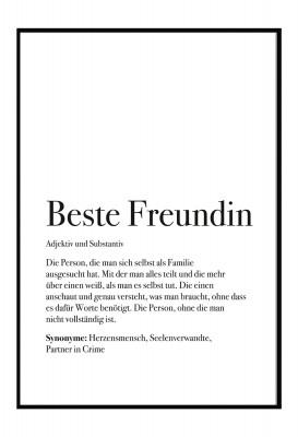 Poster Beste Freundin - Definition Beste Freundin - Poster im Lieblingsmensch Shop