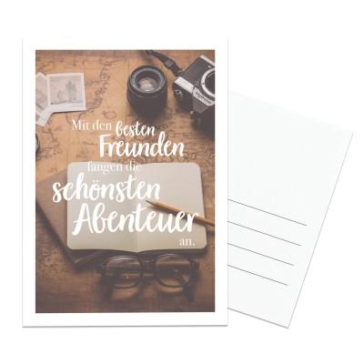 Postkarte Lieblingsmensch - Mit den besten Freunden fangen die schönsten Abenteuer an