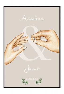 Two Hands - personalisiertes Poster zur Hochzeit