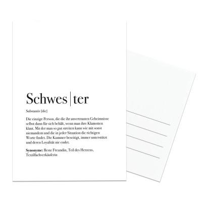 Schwester Dudeneintrag - Lieblingsmensch Postkarte