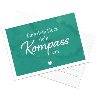 Kompass - Postkarte von Lieblingsmensch - Hochglanz 14,8 x 10 cm