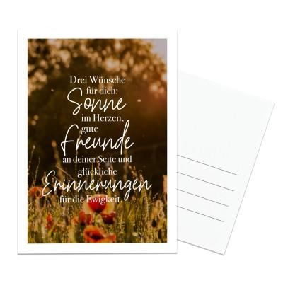 Lieblingsmensch Postkarte - Drei Wünsche für dich